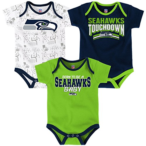 NFL by Outerstuff NFL Infant Playmaker 3 Piece Onesie Set-Dark Navy-12 Months, Seattle Seahawks