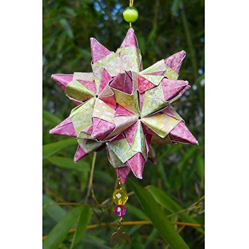 Pink Lime Paper Origami Star Christmas Ornament with Beads and Bird, Car Charm Housewarming Gift ()