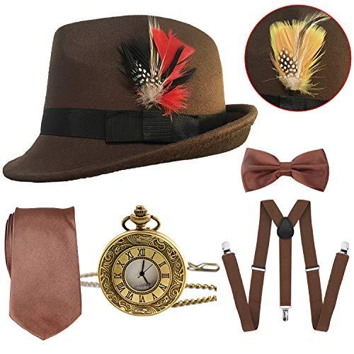 1920s Mens Gatsby Costume Accessories,Manhattan Fedora Hat w/Feather,Vintage Pocket Watch,Suspenders Y-Back Trouser Braces,Pre Tied Bow Tie,Tie (Brown)]()