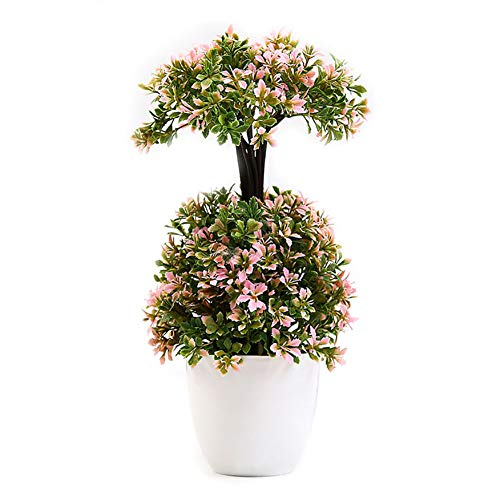 Lastnight Potted Artificial Flower Dual-Layer Bonsai Topiary Pink