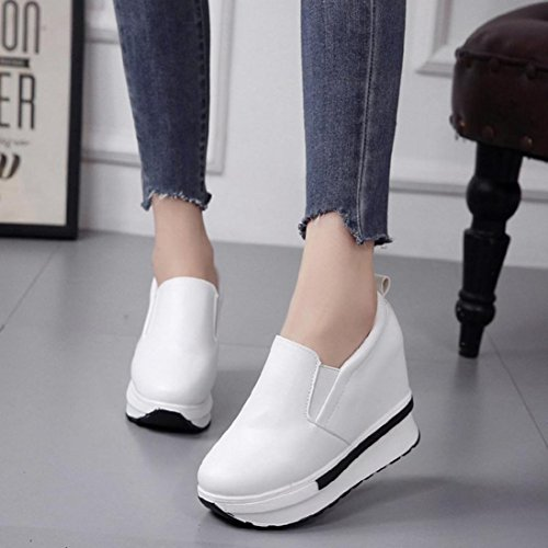 Women's Fashion Sneakers Casual White Black Hidden Heel Wedges Platform Shoes (7, White)