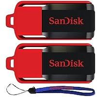 SanDisk Cruzer Switch 32 GB x2 = 64GB USB Flash Drive SDCZ52-032G-B35-2PK w/ Everything But Stromboli (TM) Lanyard