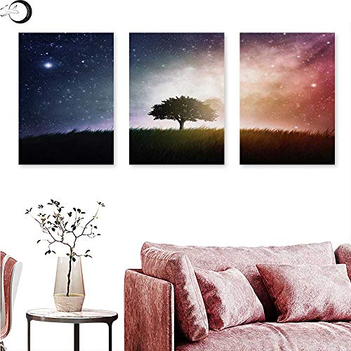 (Anniutwo Space Abstract Painting Single Tree in Field of Meadow Valley with Stars Universe Spiritual Display Print Triptych Art Set Magenta Blue W 20