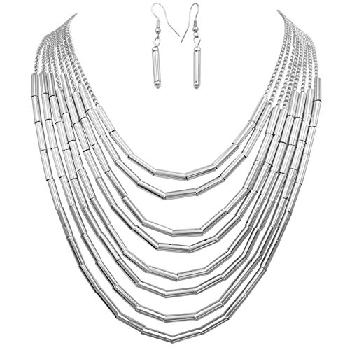Layered Multi Row Statement Silver Tone Boutique Necklace & Dangle Earrings Set (8 row Tube Beads)