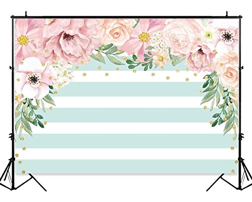 Funnytree 7X5ft Pink and Mint Green Floral Backdrop Stripes Flowers Birthday Party Photography Background Watercolor Gold Sprinkle Bridal Shower Dessert Table Banner Wedding - Floral Photography Backgrounds
