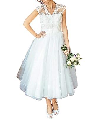 2fc9bd9a37 Mauwey Women s 1950s Vintage Tea Length Cap Sleeve Lace Wedding Dresses  Beach Bridal Gowns Ivory