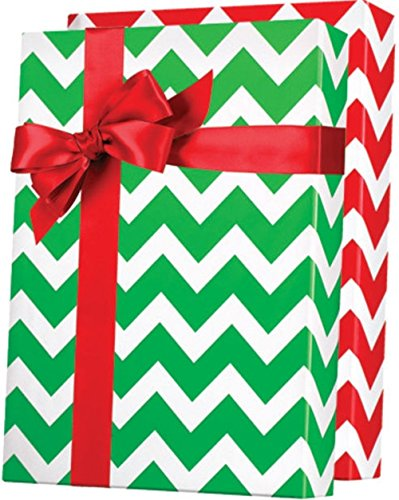 Reversible RED & GREEN CHEVRON CHRISTMAS Gift Wrap Wrapping Paper - 16ft Roll (Gift Christmas Wrap Stripe)
