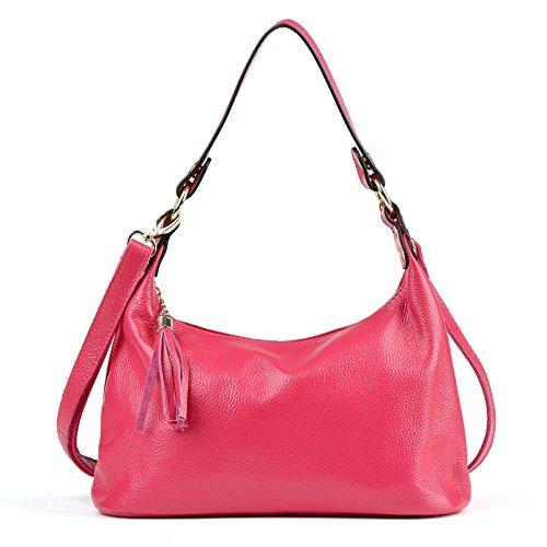 Mefly La Primera Capa De Los Bolsos De Cuero Paquete Xiekua Moda Ocio Señoras Bolso Azul Rose red