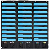 30 Pocket Storage Pocket Chart and Hanging Wall File Organizer with 6 Accessory Pockets. Best Pocket Chart for School, Classroom, Home, or Office Use. Easy Wall Pocket Chart Organizer (Black)