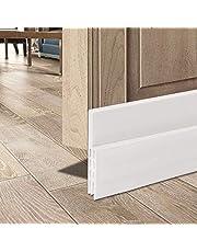 "Door Draft Stopper, HOMIEST Self Adhesive Strong Under Door Silicone Sweep, Weather Stripping Insulation Draft Noise Dustproof Door Bottom Seal Strip,2"" Width X 39"" Length (White)"