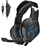 PECHAM Gaming Headset with Mic for Xbox One, PS4,Nintendo Switch, PC - Surround Sound, Noise Reduction Game Earphone - Easy Volume Control - 3.5MM Jack for Smart phone, Laptops, computer (Blue)