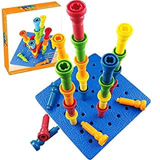 """VIPAMZ Peg Board Set - Montessori Occupational Therapy Fine Motor Skills Toy for Toddlers and Preschoolers. 25 Tall-Stacker Pegs Rubber 8"""" Pegboard"""