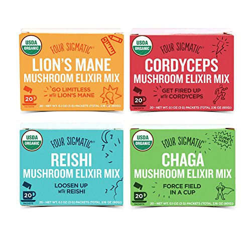 Four Sigmatic Organic Mushroom Elixir Mix - 4 Pack Variety with Cordyceps, Reishi, Chaga and Lion's Mane (4 Boxes, 20 Packets Each) by Four Sigma Foods