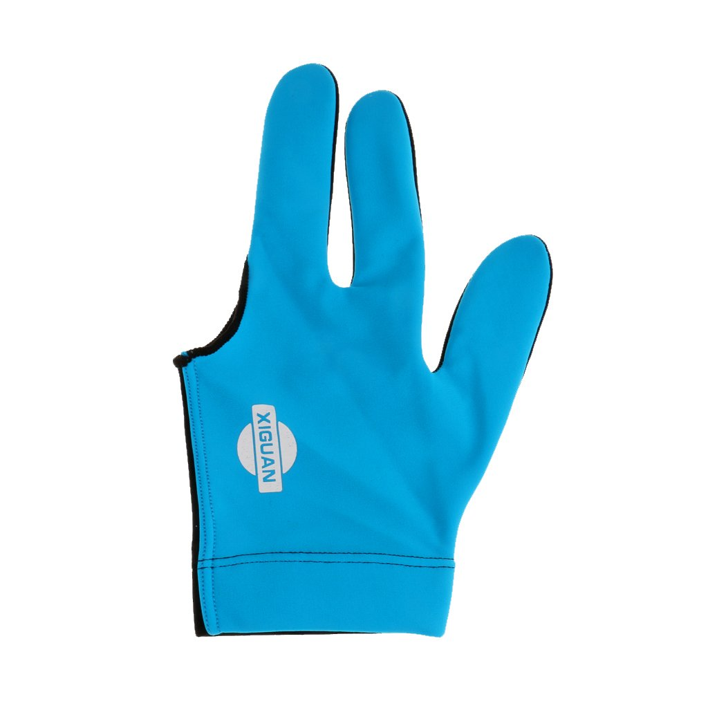 Generic Man Woman Lycra 3 Fingers Show Gloves for Billiard Shooters Pool Snooker Cue Sport - Left Hand - Blue, one size
