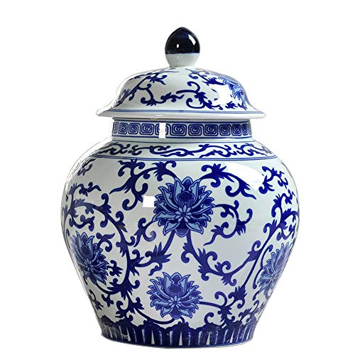QINYA,Cremation Urns for Ashes,Made in Ceramics Hand-Painted,Classic Blue and White Large Urn Honors Your Loved One,Affordable Urn for Ashes,Large Urn Deal (Bloom, 21x16cm)