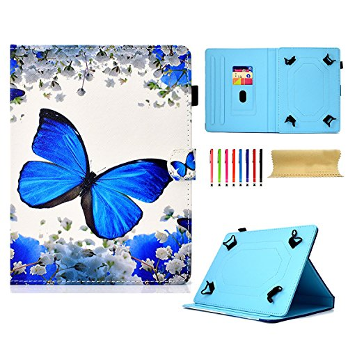 Uliking Universal Case for All 9.5-10.5 inch Touchscreen Android Tablet, Stand Folio PU Leather Wallet Cover with Card Pencil Holder for Kindle Samsung Apple ipad Tablet,ECT, Blue Butterfly Flower