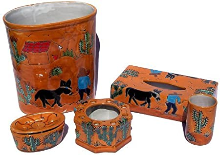 Fine Crafts Imports Desert Talavera Ceramic Bathroom Set Home Kitchen Amazon Com