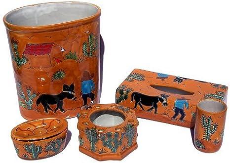 Amazon Com Fine Crafts Imports Desert Talavera Ceramic Bathroom Set Home Kitchen