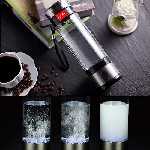 Stainless Steel Hydrogen Generator - [KIKAR] 400ml Portable Ionized Water Generator Glass Bottle Anti Aging Antioxidant Hydrogen Maker