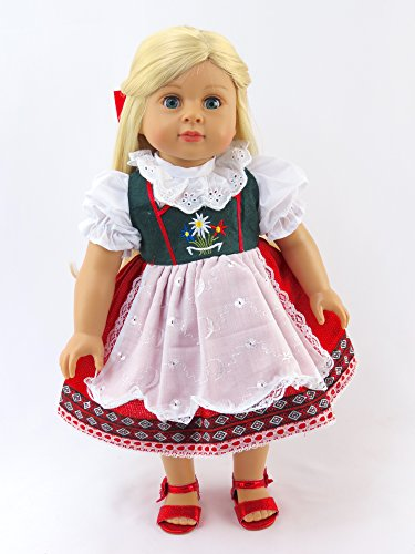 Traditional Dress Of America (Traditional Swiss-German Green, Red, & White Dress for 18 Inch Dolls Fits 18