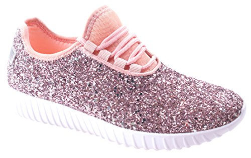 Forever Link Womens Remy-18 Lace up Glitter Fashion Sneaker w Elastic Tongue & White Outsole Pink UeA2g