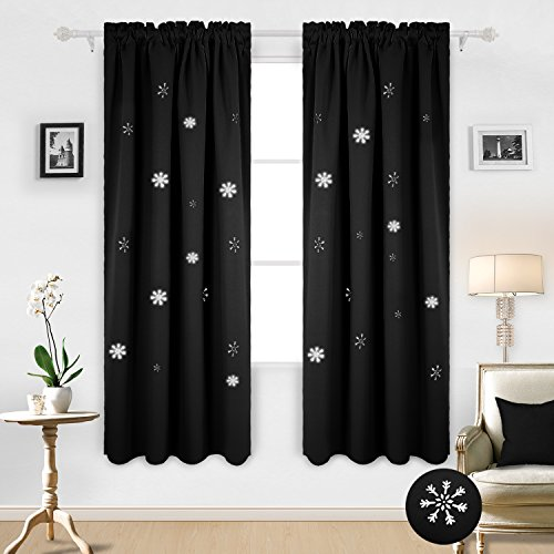 Deconovo Christmas Die Cut Snowflake Window Drapes Rod Pocket Thermal Curtains for Bedroom 52W x 84L Inch Black 2 Panels ()