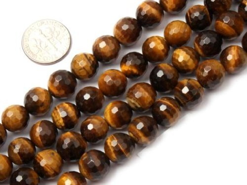 - 8mm Round Yellow Gemstone Faceted Tiger Eye Stone Beads Strand 15 Inch Jewelry Making Beads
