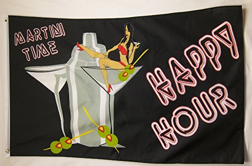 (Happy Hour 3' X 5' Martini Time Indoor Outdoor Party)