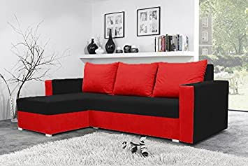Mojito Corner Sofa Bed with Underneath Storage in Black and Red
