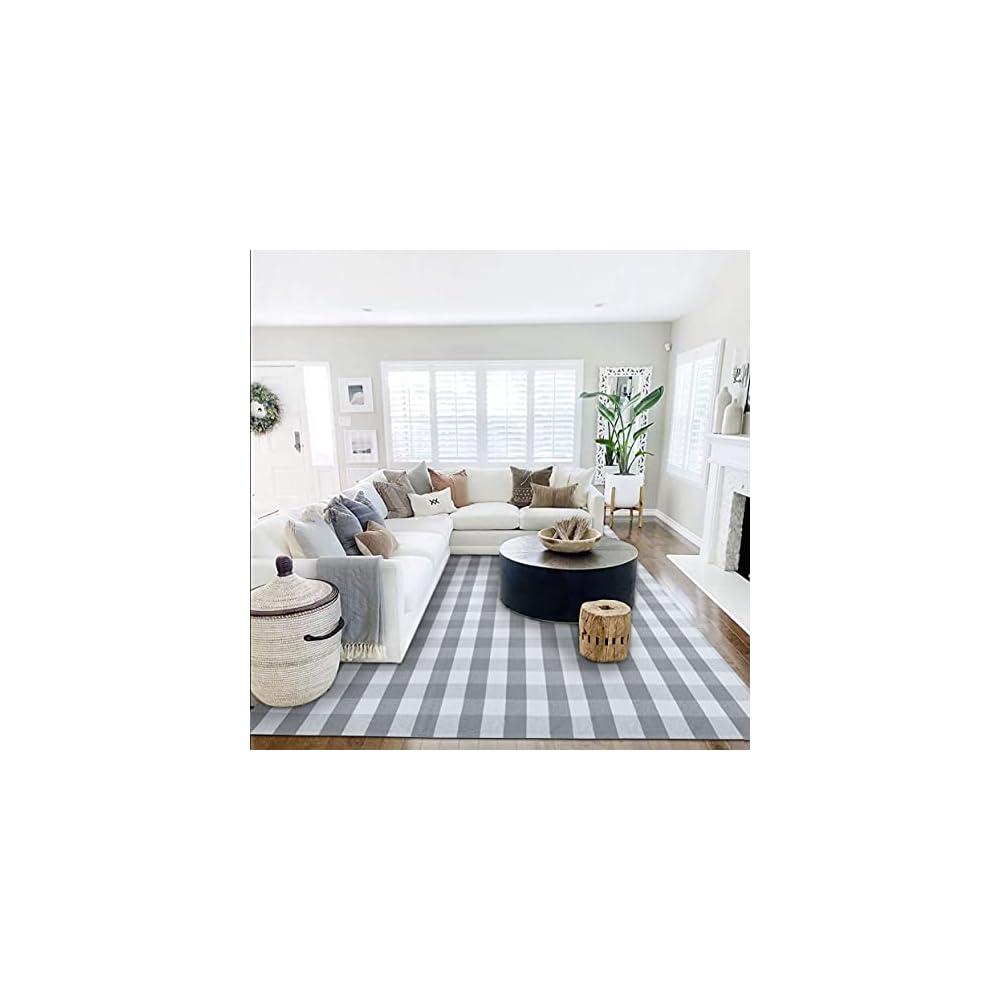 Buffalo Plaid Rug 8' x 10' Buffalo Check Rug Cotton Grey and White Washable Retro Lattice Checkered Outdoor Rug Carpet…