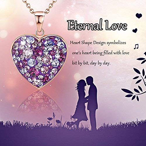 Esottia Multi-Stone Heart Pendant Necklace Fill Your Heart with Love Made with Swarovski Crystals 18K Rose Gold Plated 18''+2'' Love Heart Necklace Color Purple for Girlfriend Wife Mother Daughter by Esottia (Image #3)