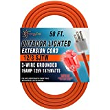 EnergyPal Heavy Duty 14/3 Outdoor Lighted Plug Extension Cord 50 FT
