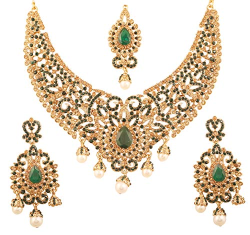 (Touchstone New Indian Bollywood Desire Traditional Filigree Faux Green Emerald Color Exclusive Grand Bridal Jewelry Necklace Set in Antique Gold Tone for Women)