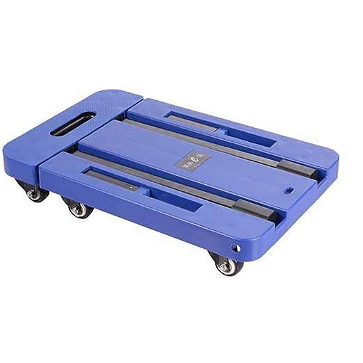 QNMM Carrito de Equipaje de Mano de Acero Inoxidable Carrito de Equipaje Plegable portátil Ruedas giratorias 360 ° Carga 440 Libras Plana Extensible, ...