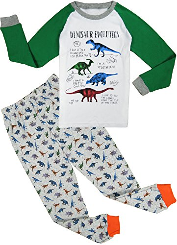 Babypajama Dinosaur Little Boys' Pajama Sleepwear 2-Piece Tee&Pants White Size 2 Years
