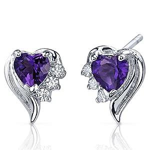 Amethyst Earrings Sterling Silver Heart Shape CZ Accent