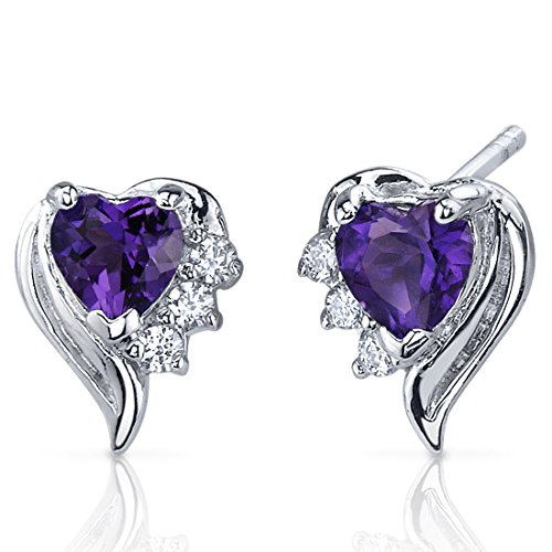 Shape Silver Sterling Earrings Heart (Amethyst Earrings Sterling Silver Heart Shape CZ Accent)