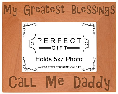 Child Daddy Color Frame (ThisWear Dad Blessings Call Me Daddy Natural Wood Engraved 5x7 Landscape Picture Frame Wood)