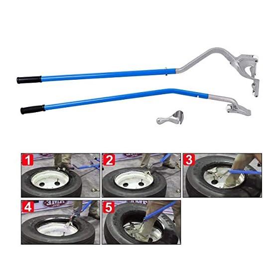 Goplus Tire Changer, 17.5″ to 24″ Steel Tire Mount Demount Tool Kit, Tubeless Truck Bead Breaker Manual Tire Changing Tools (Blue)