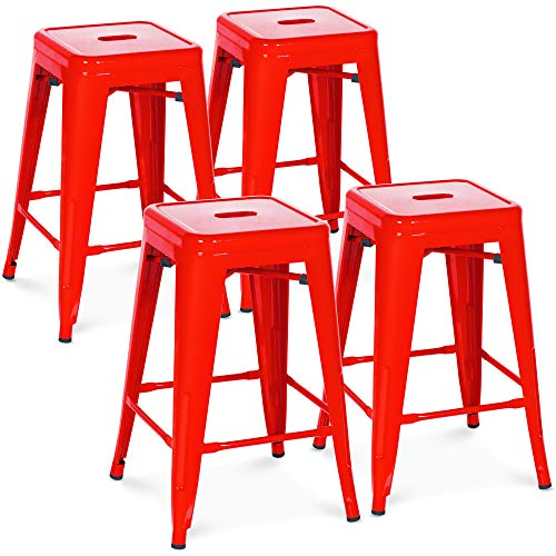 Best Choice Products 24in Set of 4 Indoor Outdoor Stackable Backless Counter Height Stools - Red