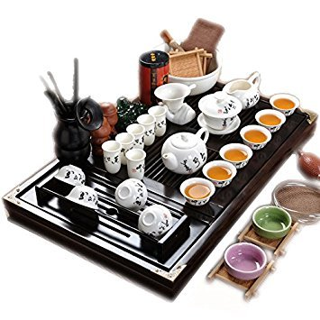 ufengke Chinese Ceramic Kung Fu Tea Set With Wooden Tea Tray And Small Tea Tools, Tea Service, Toy Tea Set For Gift, Office Home Use, ()