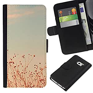 KingStore / Leather Etui en cuir / Samsung Galaxy S6 EDGE / Summer Sunset trullo Campos Cielo caliente;