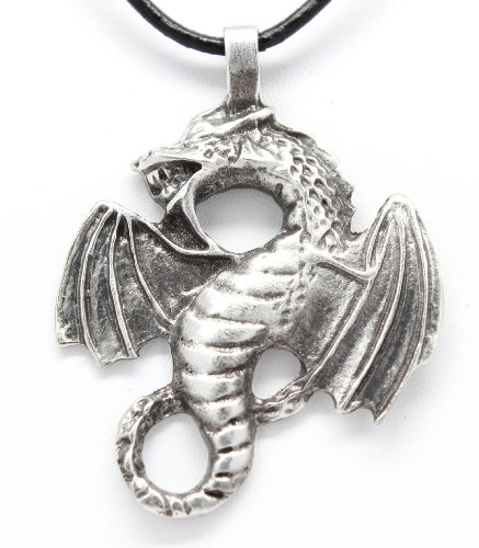- Trilogy Jewelry Pewter Dragon Fantasy Magical Gothic Pendant on Leather Necklace