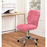 Fun and Stylish Faux Fur Task Chair with Adjustable Height Lever (Pink)