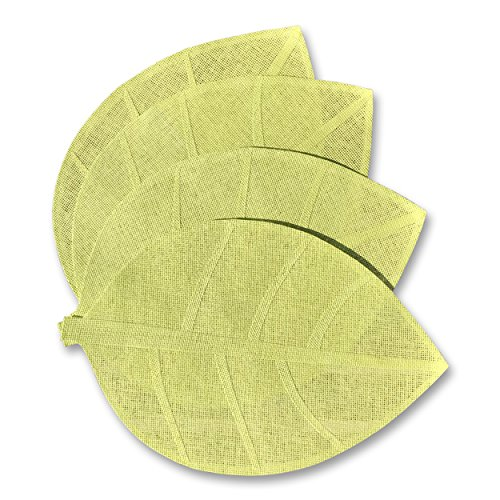- WHW Whole House Worlds Naturally Modern Leaf Place mats, Set of 4, Vibrant Green, Detailed, Woven, Stitched Edges, Wipe Clean, 19 3/4 Inches Long