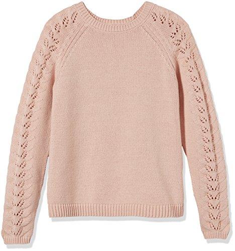 Kid Nation Girls' Crewneck Eyelet-Sleeve Knit Sweater XL(10-12) Pink