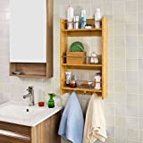 SoBuy Haotian Wall Shelves,Wall rack,Wall Cabinets,Wall-Mounted Cabinets,Storage Racks, Hanging Entryway Shelf,Storage Shelf,and Coat Rack Wall Shelf with Hooks (FRG33-N)