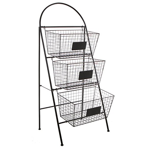 Excellent Amazon.com: 3 Tier Modern Black Metal Wire Mesh Basket Floor Rack  VD47