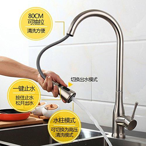 Gyps Faucet Waschtisch-Einhebelmischer Waschtischarmatur Badarmatur 000 der Wasserhahn Edelstahl 000 zu Den ausziehbaren Wasserhahn Ziehen Küche Wasseranschluß und kaltem Wasser Gebürstet Kann GED