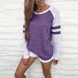KESEE Clearance Womens Clothing☀ Fashion Ladies Long Sleeve Splice Blouse Tops Clothes T Shirt (XL, Purple)